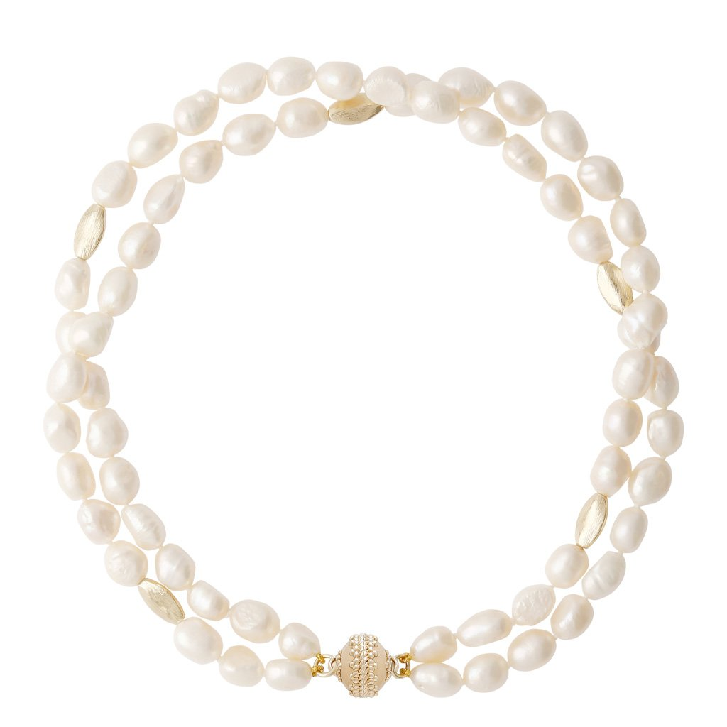 "CLARA WILLIAMS GOLD RUSH IRREGULAR WHITE PEARL 16.5"" NECKLACE, 2 STRANDS"