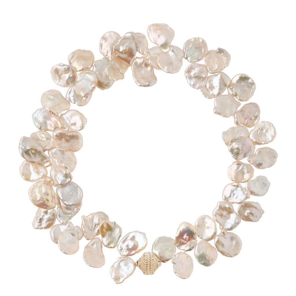 CLARA WILLIAMS WHITE KESHI PEARL 3 STRING NECKLACE
