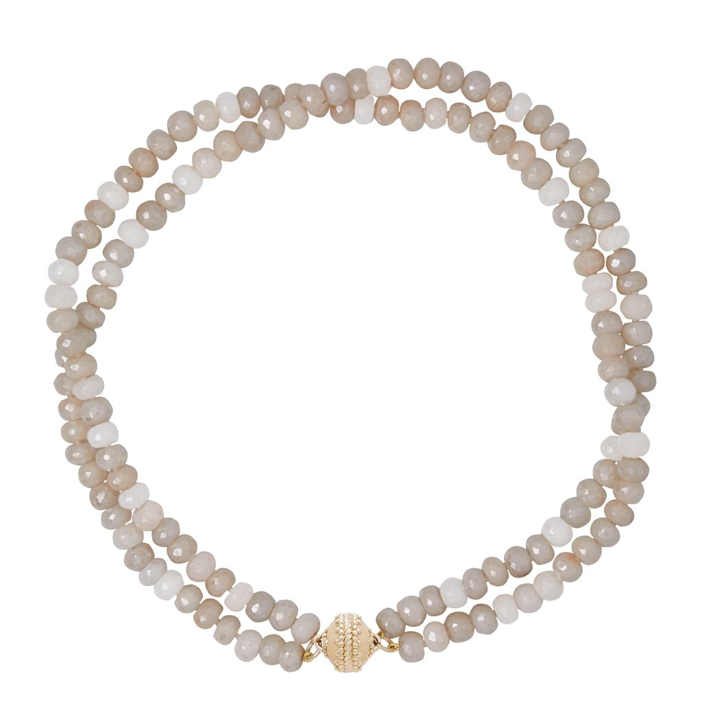 CLARA WILLIAMS COATED GRAY MOONSTONE FACETED RHONDELLE NECKLACE, 2 STRANDS