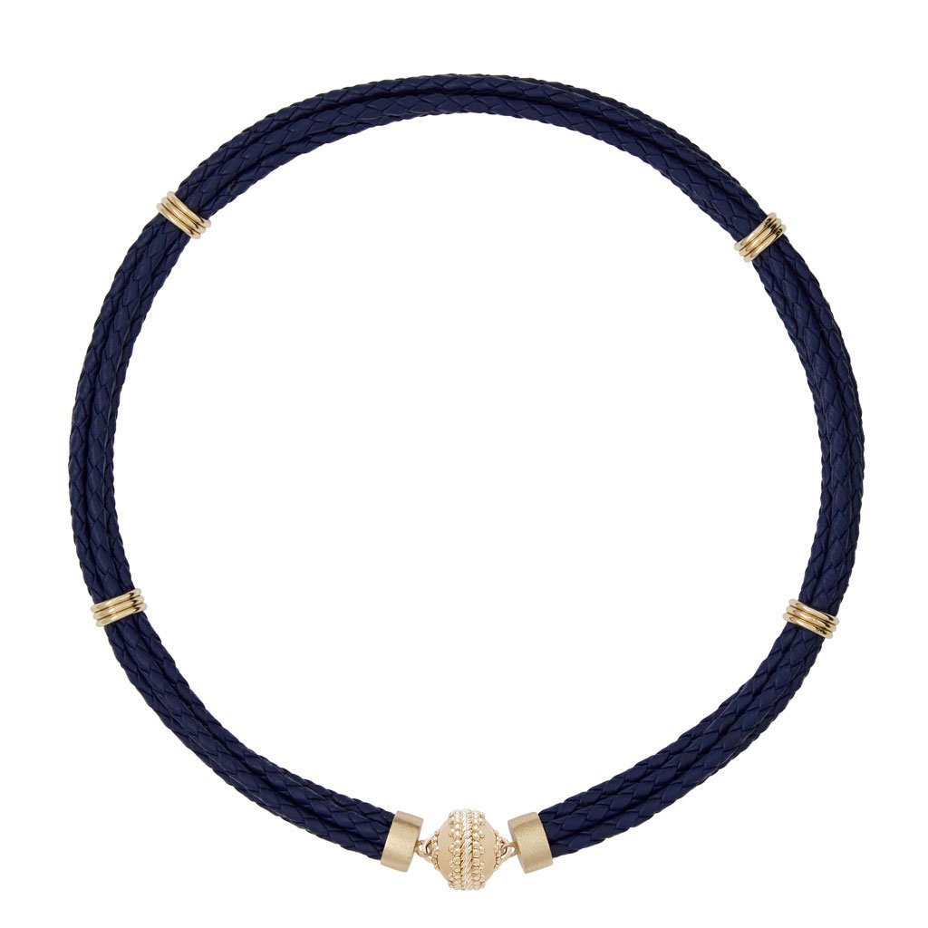 CLARA WILLIAMS ASPEN BRAIDED LEATHER NAVY COWHIDE NECKLACE, 16.5""