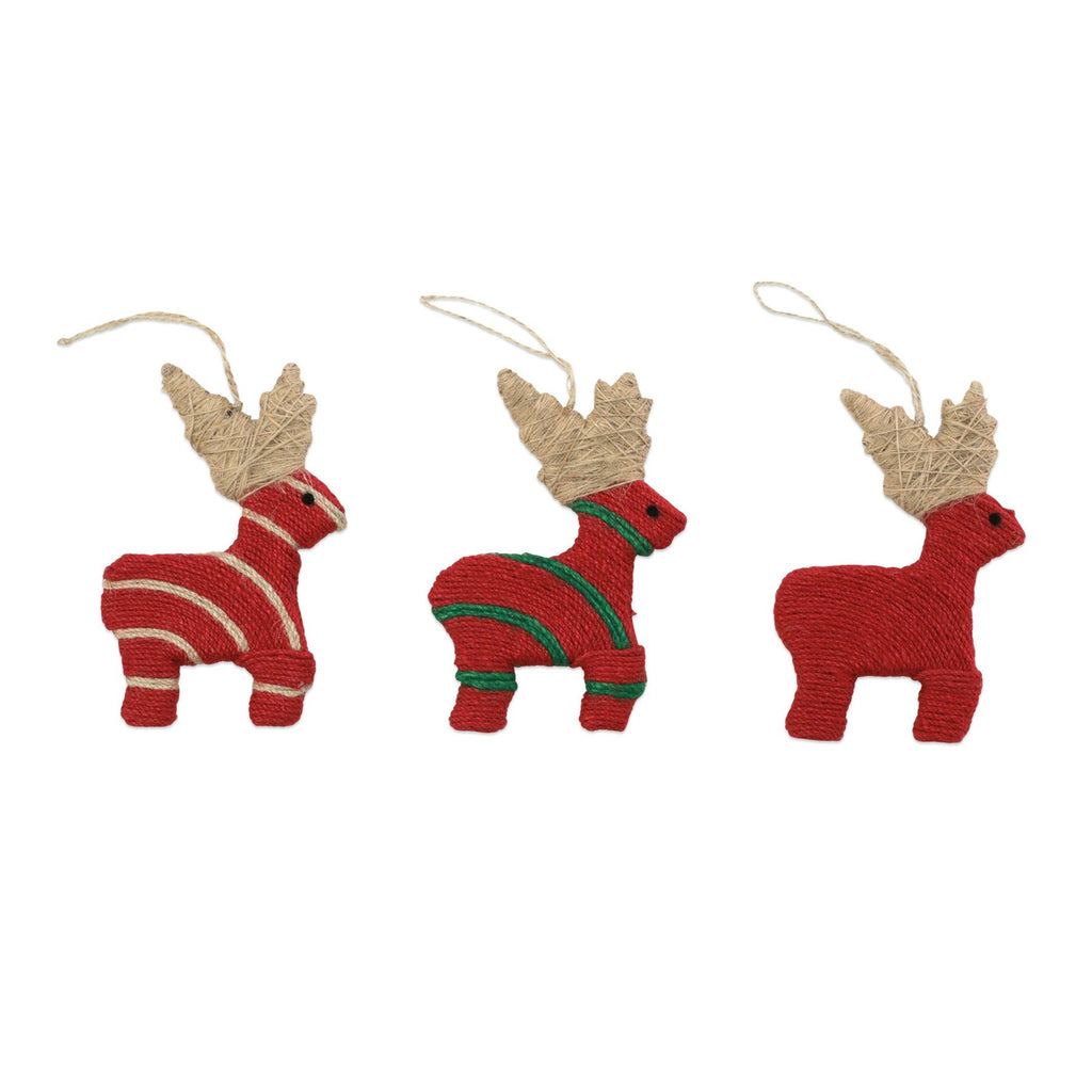 VIETRI ASSORTED REINDEER ORNAMENTS, SET OF 3