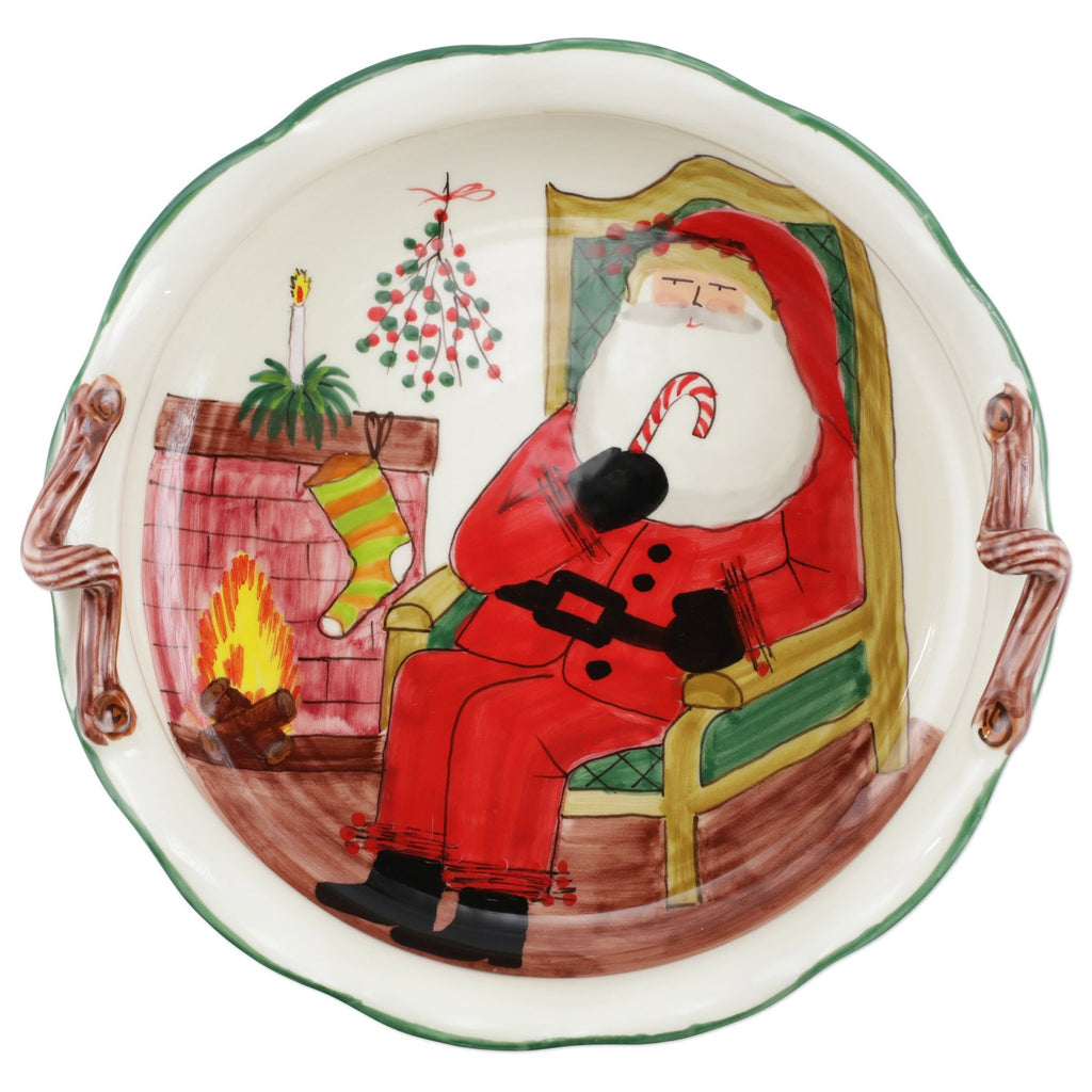 VIETRI OLD ST. NICK HANDLED SCALLOP LARGE BOWL W/FIREPLACE