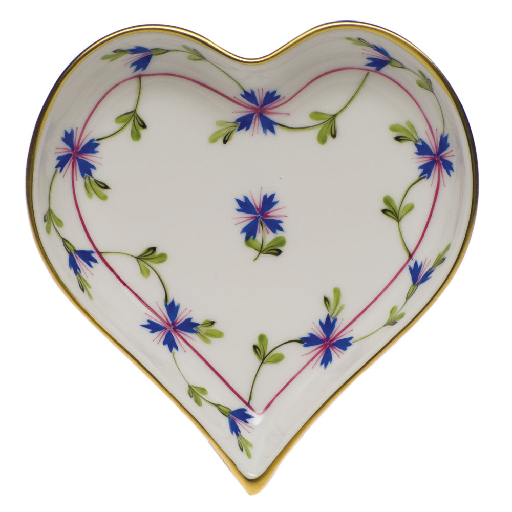 HEREND BLUE GARLAND SMALL HEART TRAY