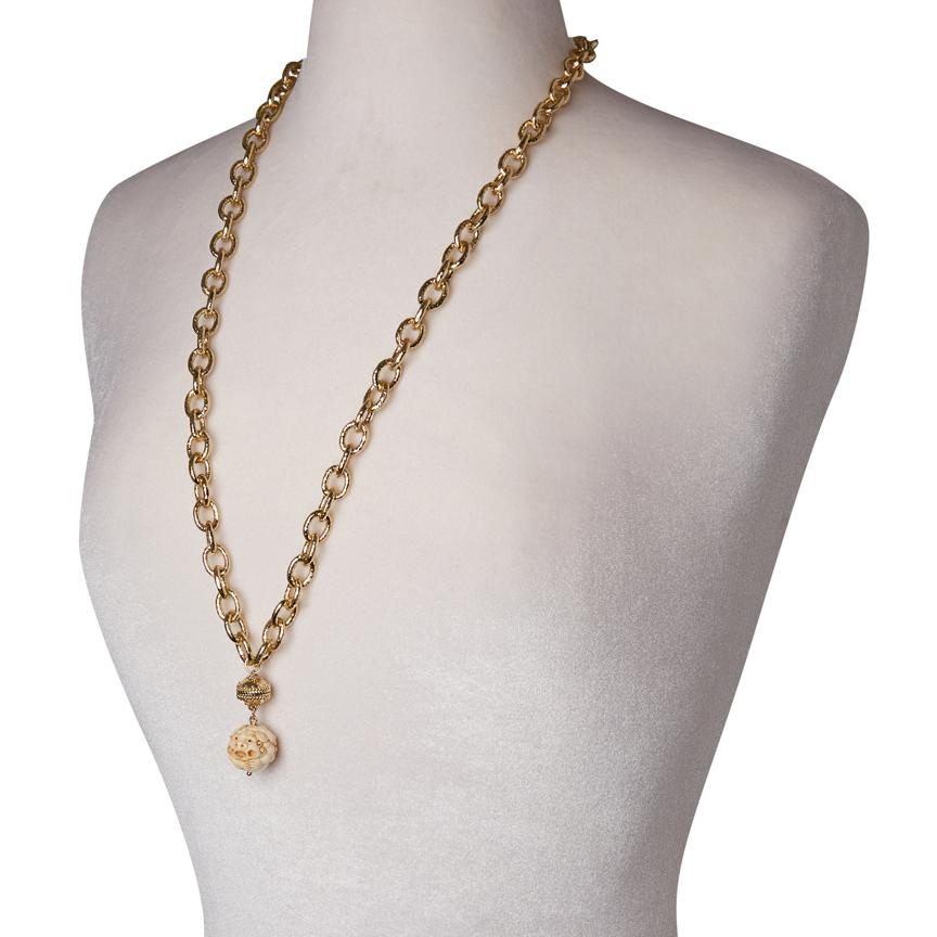 CLARA WILLIAMS WABASH NECKLACE, 14K GOLD 2 STRAND, 16.5""