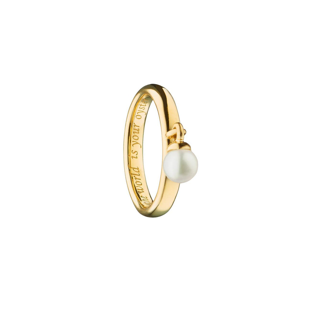 MONICA RICH KOSANN 18K YELLOW PEARL POESY RING/THE WORLD IS YOUR OYSTER/SIZE 3