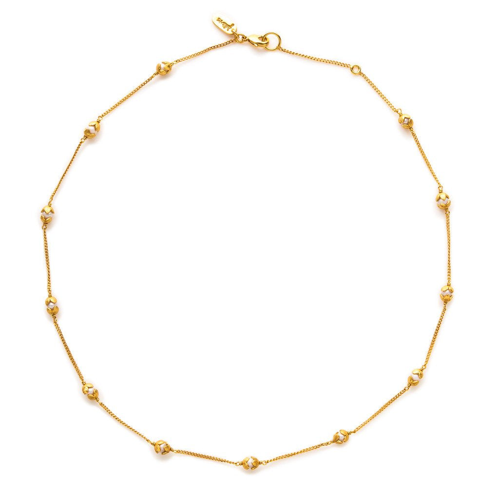 JULIE VOS PENELOPE DELICATE GOLD/PEARL STATION NECKLACE