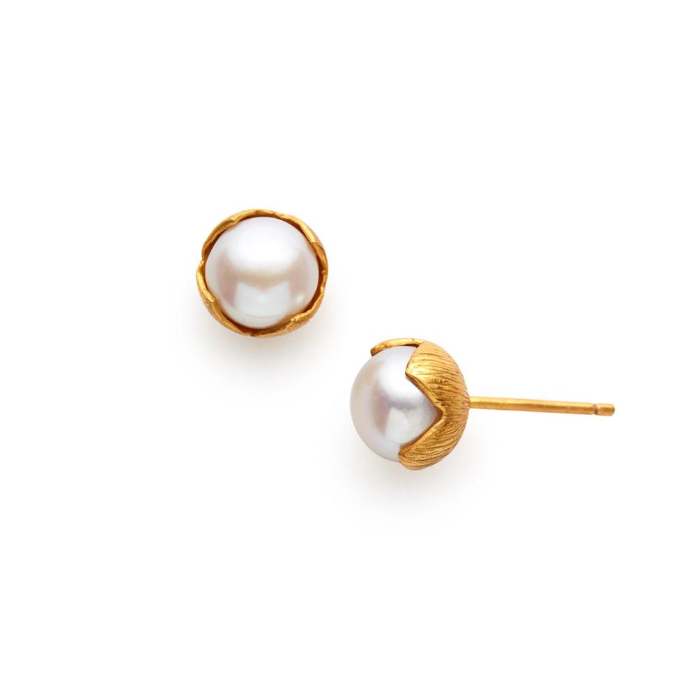 JULIE VOS PENELOPE GOLD PEARL SMALL STUD EARRING