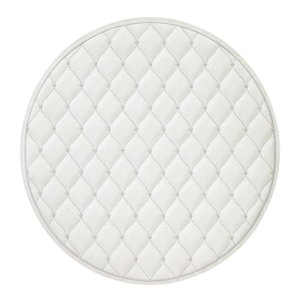 BODRUM QUILTED DIAMOND/ANTIQUE WHITE/SILVER ROUND PLACEMAT, SET OF 2