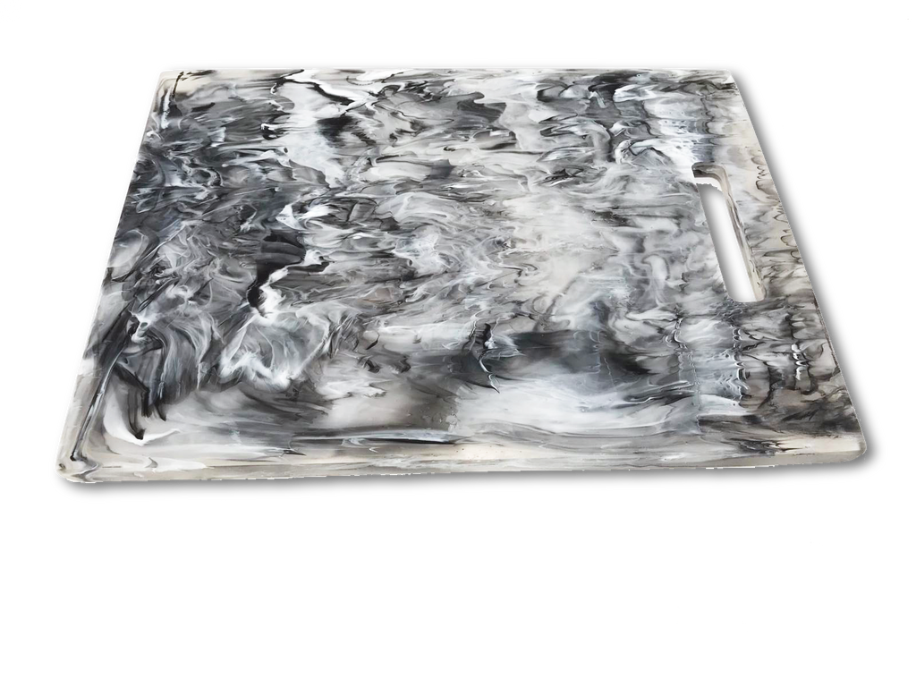 NASHI HOME RESIN LARGE RECTANGULAR CHOPPING BOARD, BLACK SWIRL