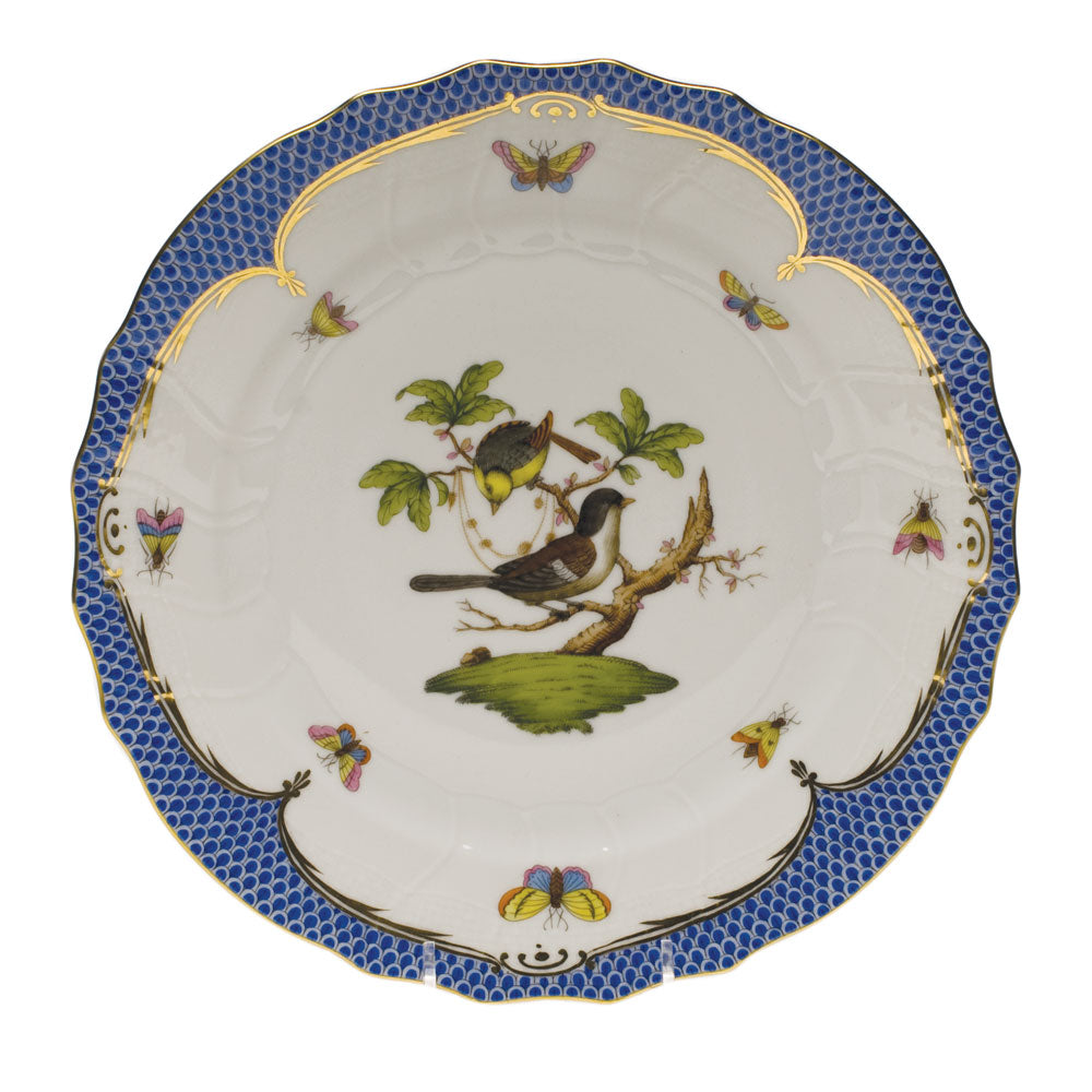 HEREND ROTHSCHILD BIRD BLUE BORDER DINNER PLATE