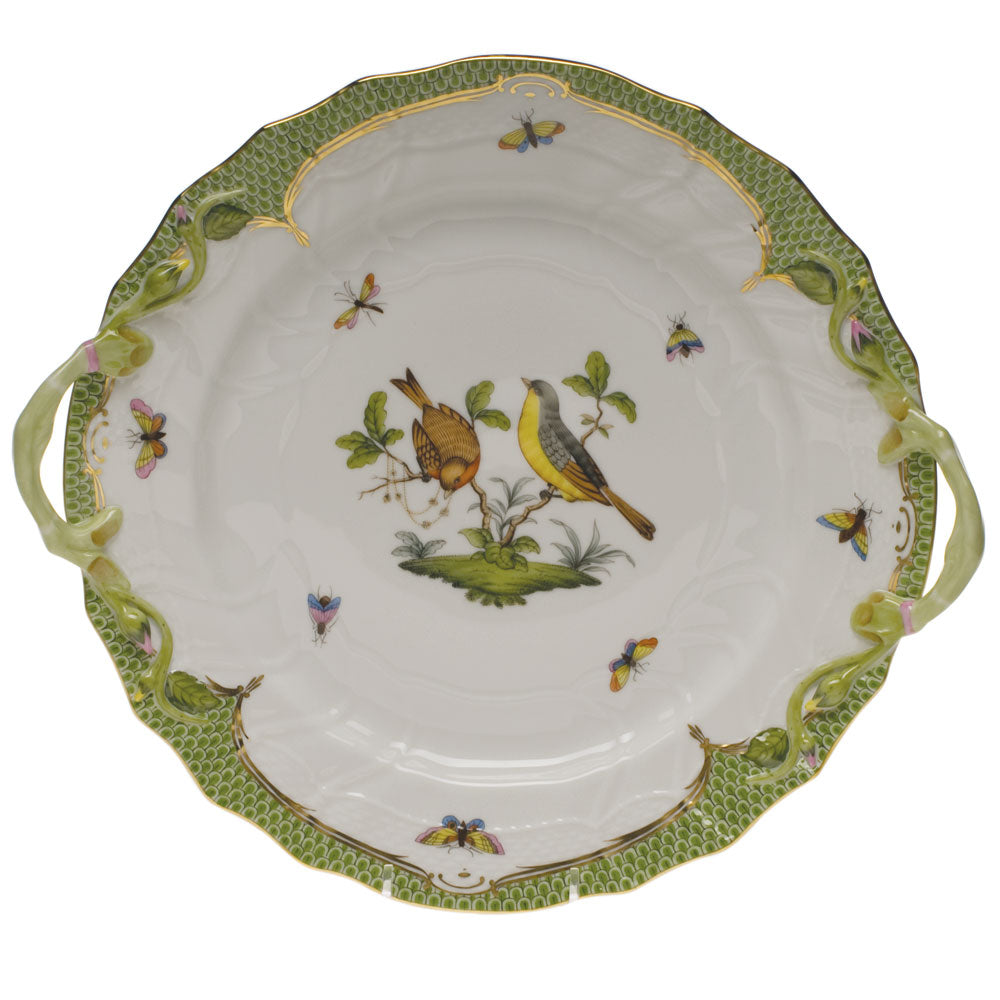 HEREND ROTHSCHILD BIRD GREEN BORDER CHOP PLATE WITH HANDLES