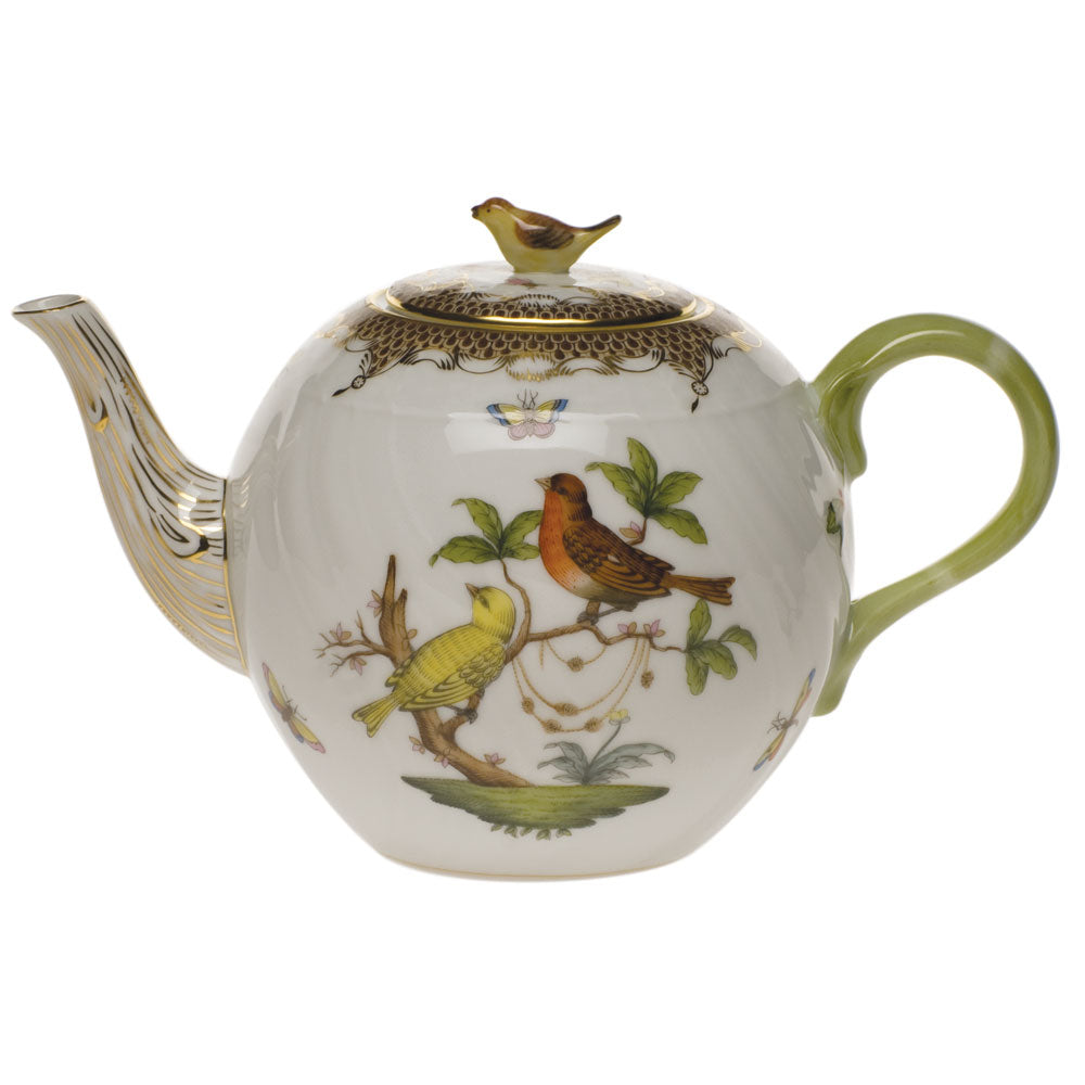 HEREND ROTHSCHILD BIRD BROWN BORDER TEAPOT WITH BIRD