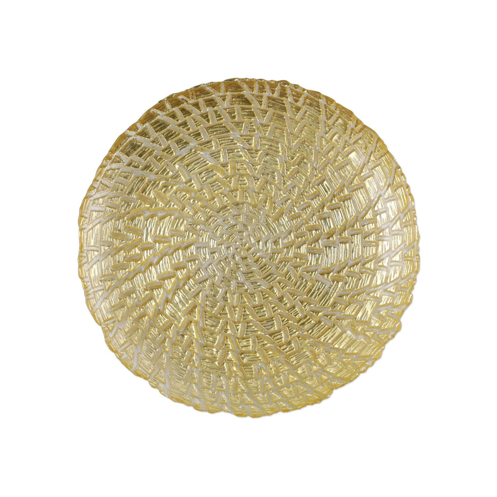 VIETRI RUFOLO GLASS GOLD CROCODILE SALAD PLATE