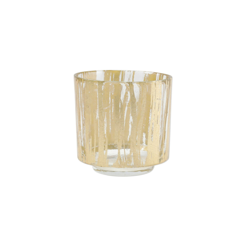 VIETRI RUFOLO GLASS GOLD BRUSHSTROKE VOTIVE