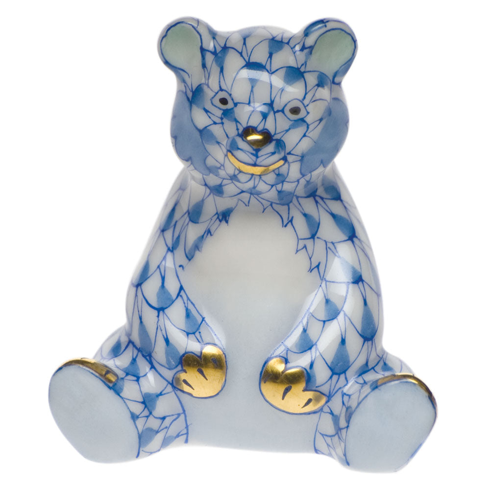 HEREND MINIATURE BLUE BABY BEAR SITTING