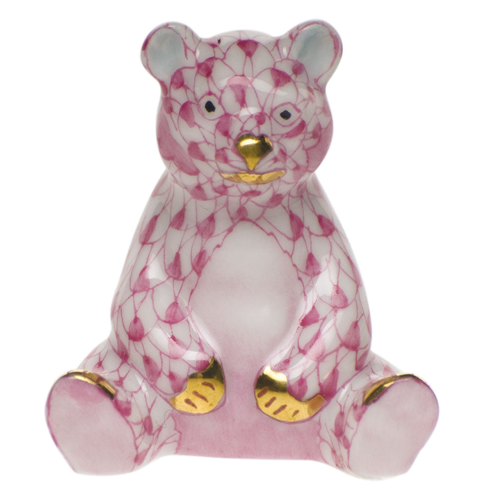 HEREND MINIATURE RASPBERRY BABY BEAR SITTING