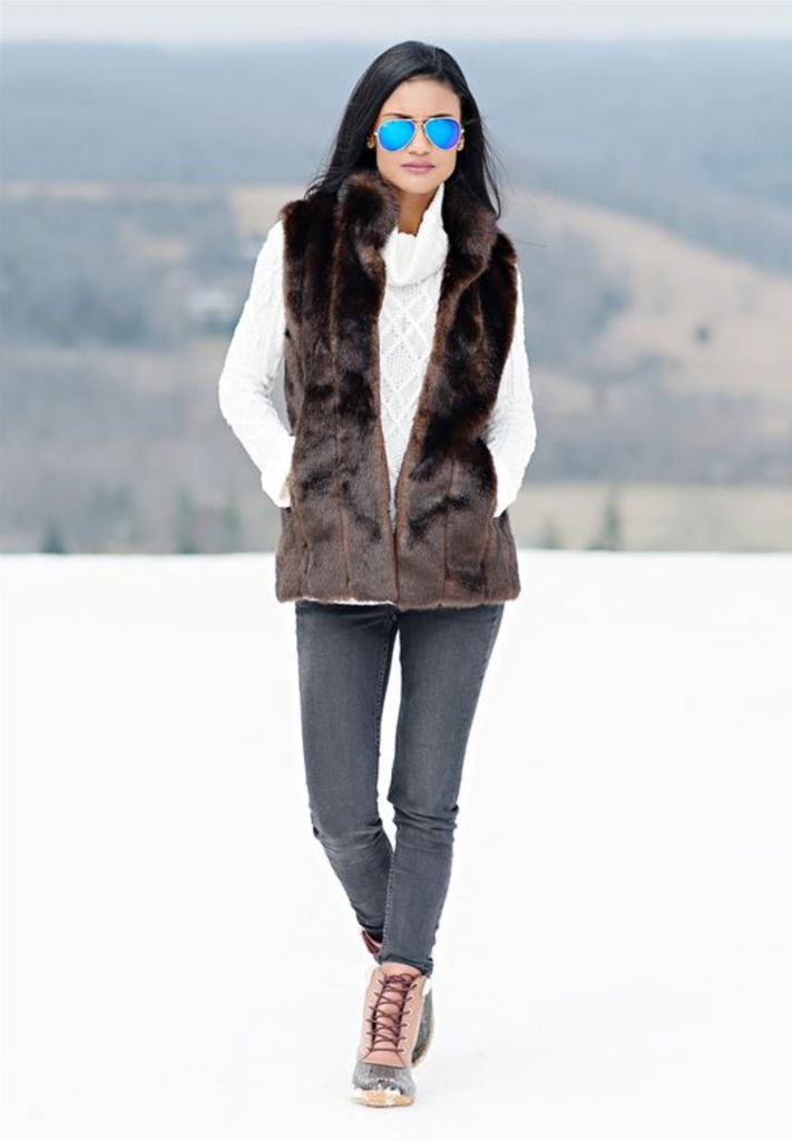 FABULOUS FURS SABLE FUR HOOK VEST