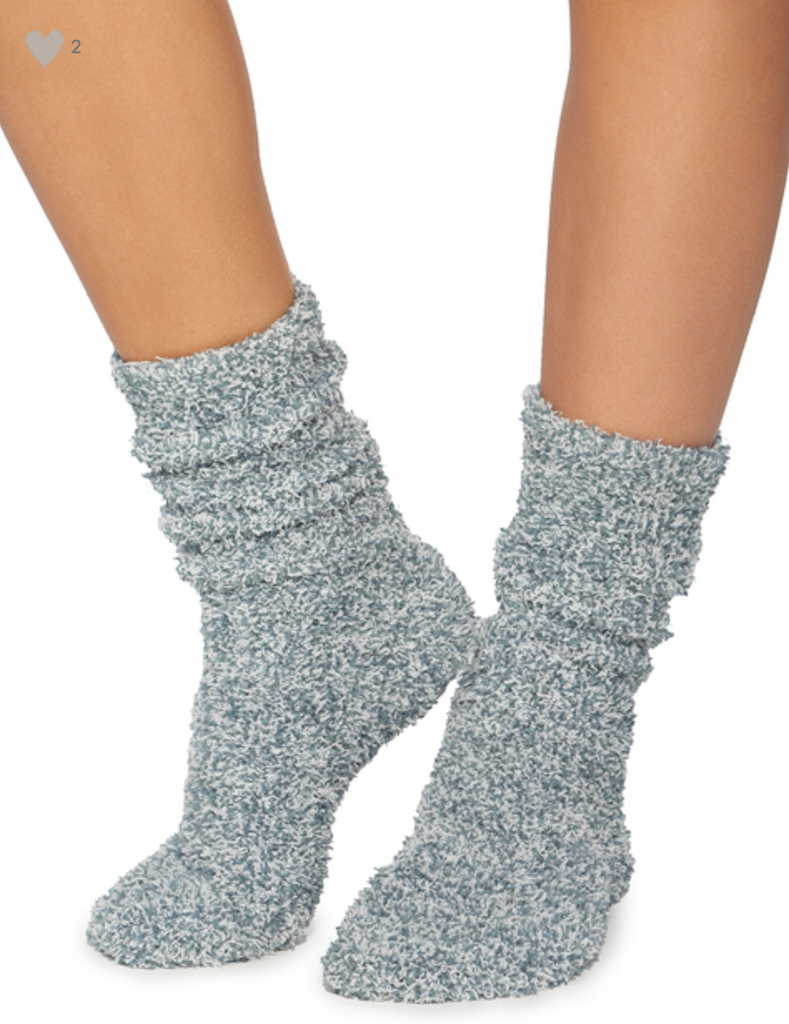 BAREFOOT DREAMS COZYCHIC HEATHERED SOCKS, DUSTY ROSE/WHITE