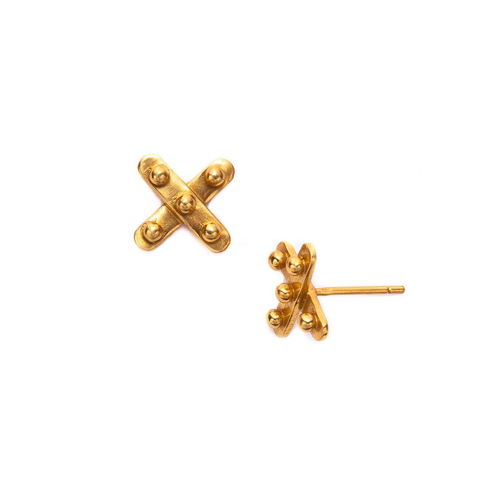 JULIE VOS SOHO X GOLD STUD EARRING