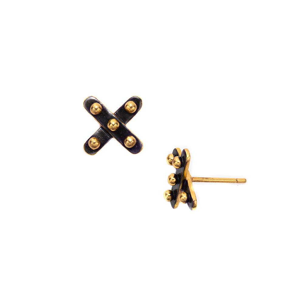 JULIE VOS SOHO X  MIXED METAL STUD EARRINGS