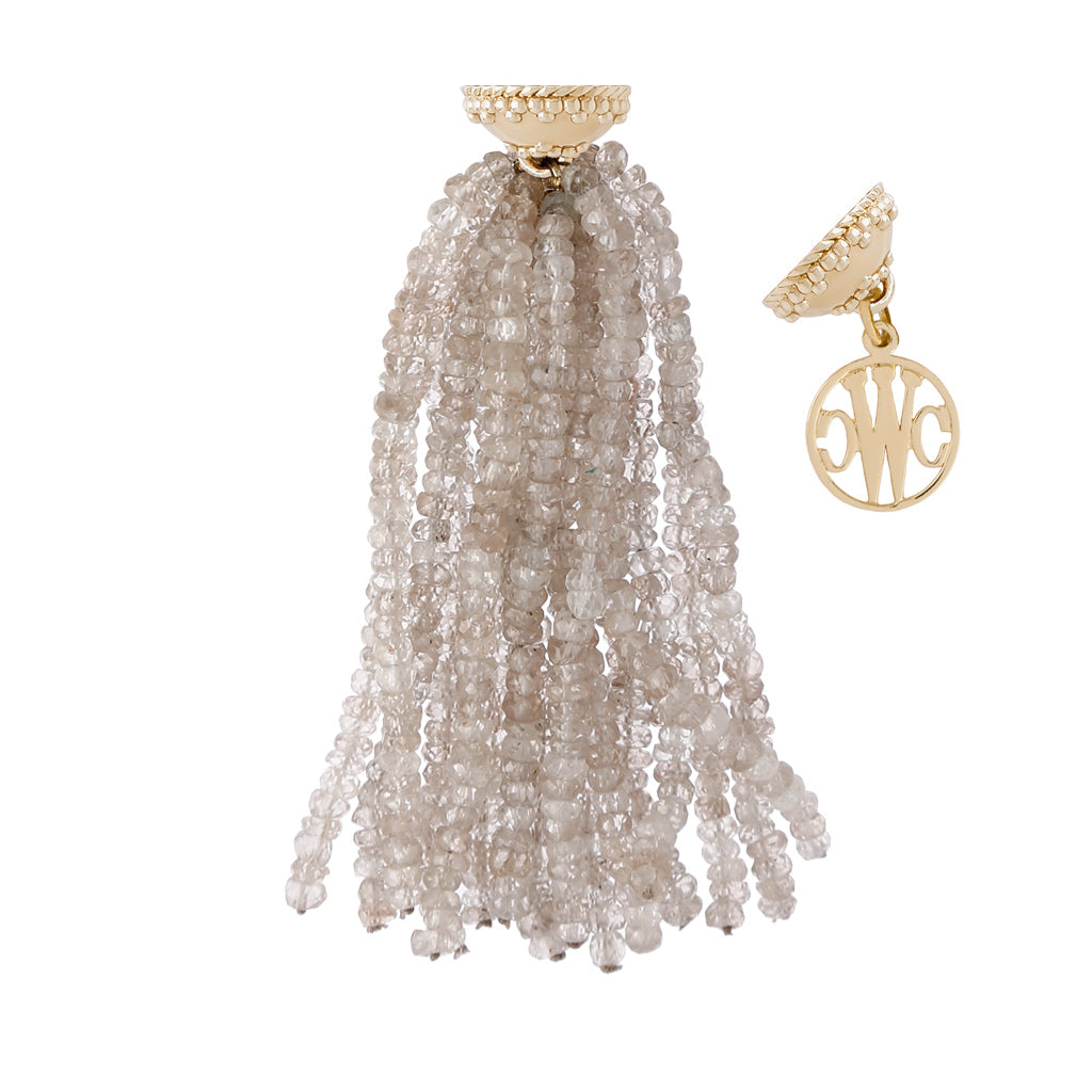 CLARA WILLIAMS MICHEL CHAMPAGNE ZIRCON FACETED RHONDELLE TASSEL, 16 STRANDS, YELLOW GOLD CLASP