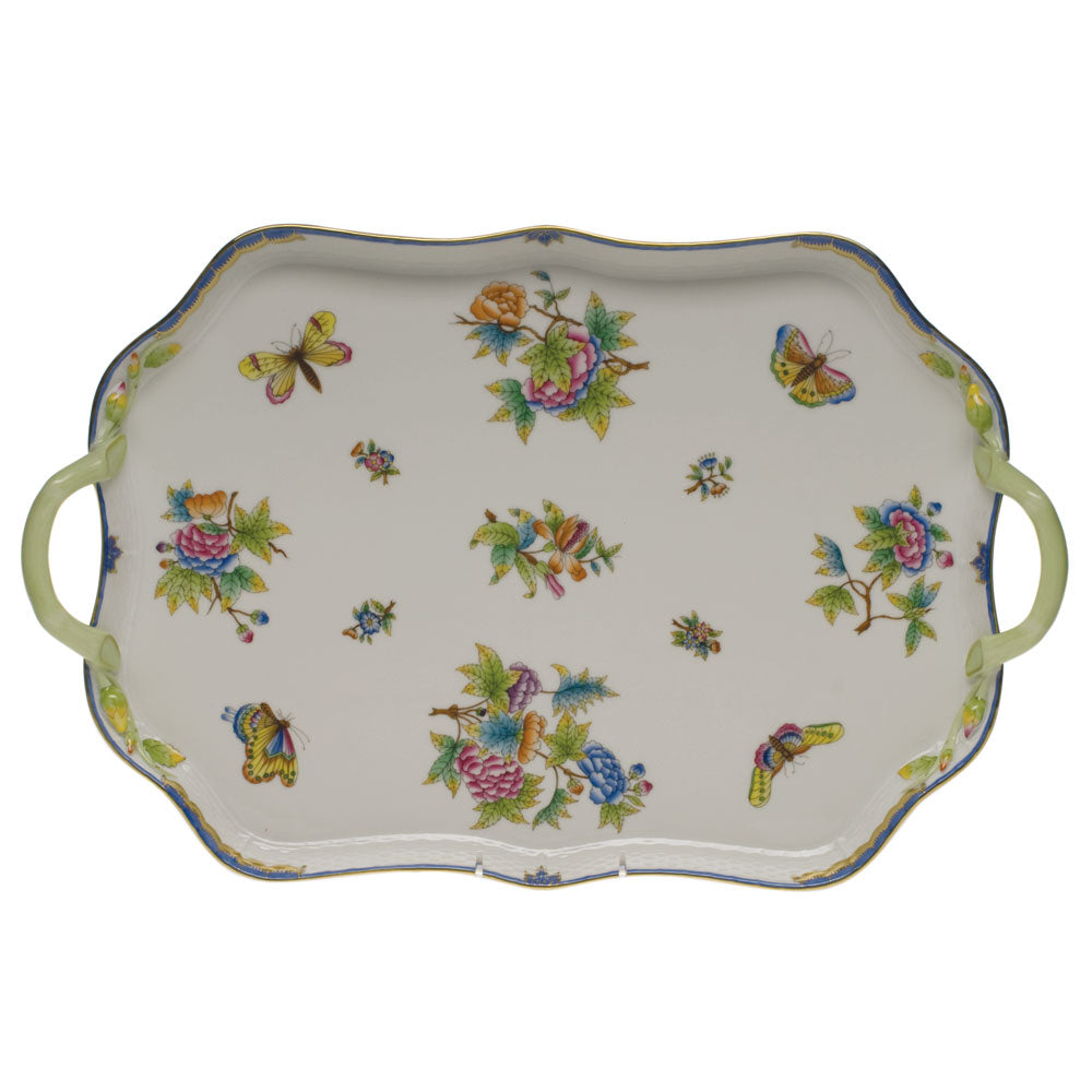 HEREND QUEEN VICTORIA BLUE BORDER RECTANGULAR TRAY WITH BRANCH HANDLES