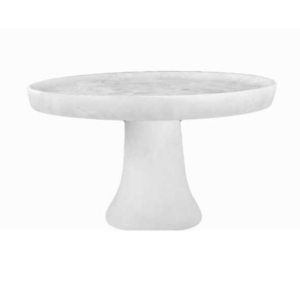 NASHI HOME RESIN FOOTED MEDIUM CAKE STAND, WHITE SWIRL
