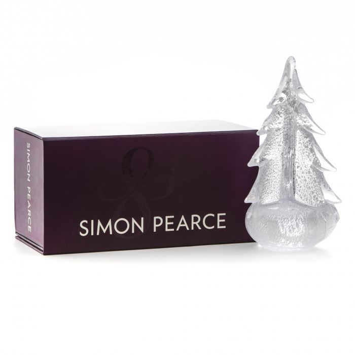 "SIMON PEARCE 14"" SILVER LEAF EVERGREEN IN GIFT BOX"