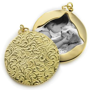 "MONICA RICH KOSANN 18K YELLOW GOLD 1.4"" IMAGE CASE IN VINE PATTERN"