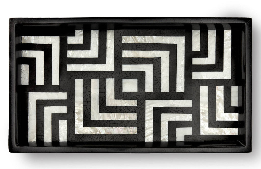 L'OBJET DEDALE BLACK & WHITE SMALL TRAY