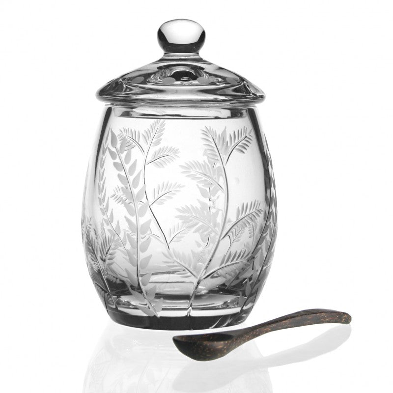 WILLIAM YEOWARD CRYSTAL FERN COVERED HONEY JAR WITH SPOON