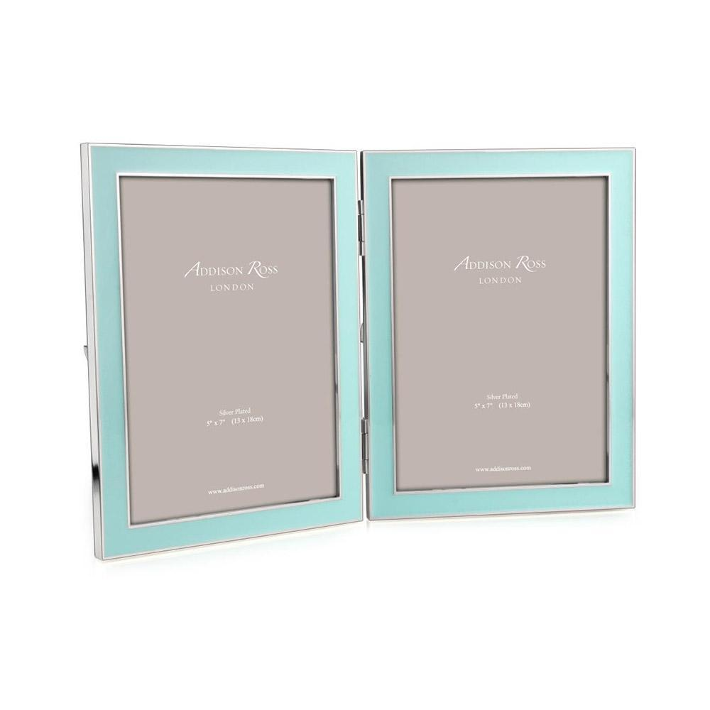 ADDISON ROSS BLUE ENAMEL DOUBLE FRAME, 5*7