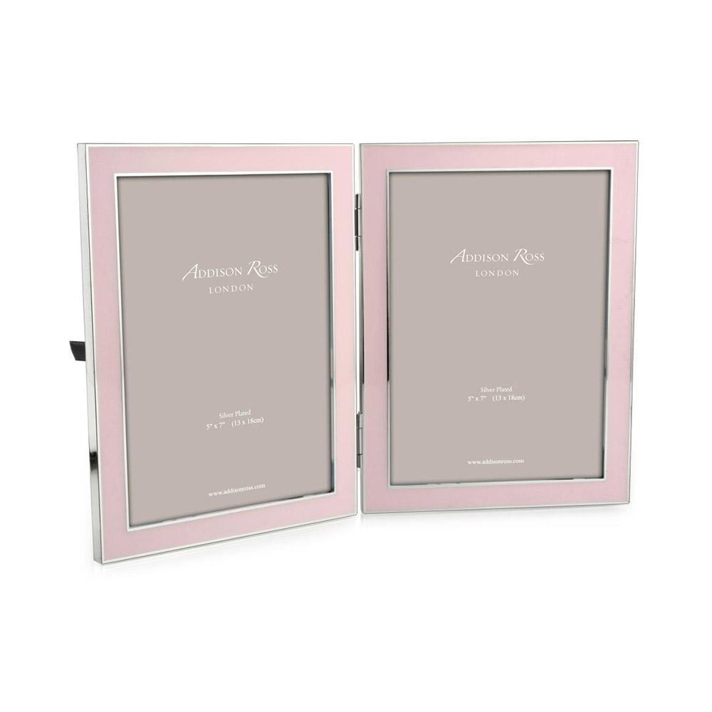 ADDISON ROSS PINK ENAMEL DOUBLE FRAME, 5*7