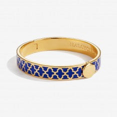 HALCYON DAYS AGAMA DEEP COBALT/GOLD HINGED BANGLE, 1CM