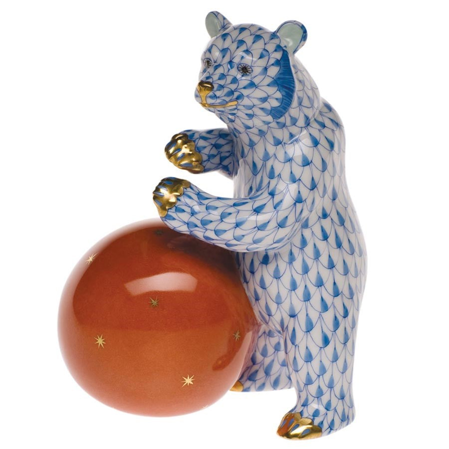 HEREND CHOCOLATE BEAR WITH BALL
