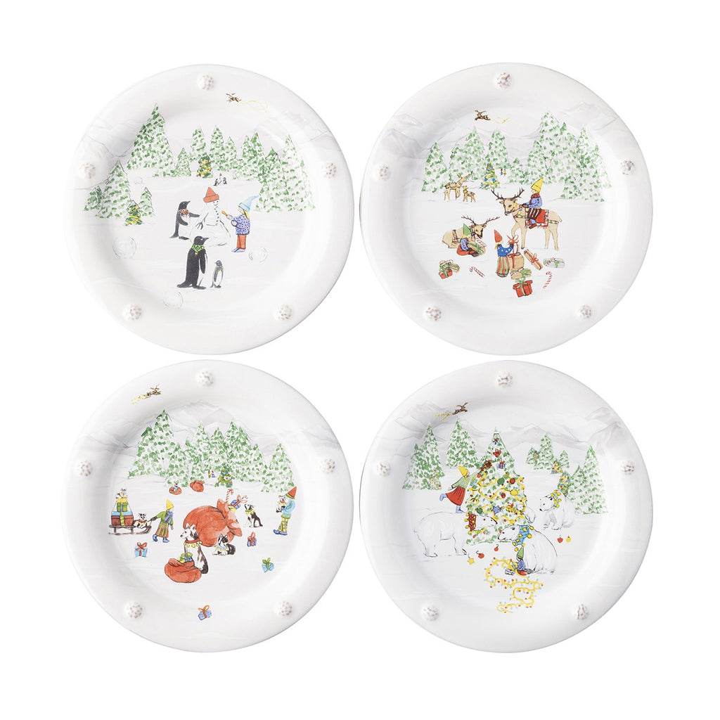 JULISKA NORTH POLE COCKTAIL PLATES, SET OF 4 ASSORTED