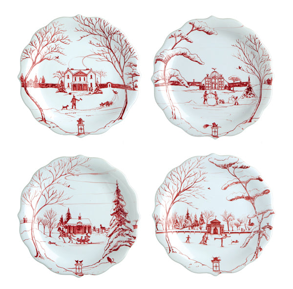 Juliska Country Estate Ruby Party Plate, Set of 4
