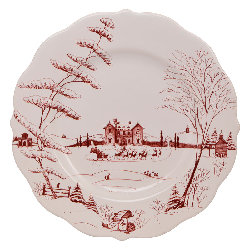 Juliska Country Estate Ruby Winter Frolic Ruby Scallop Dinner Plate