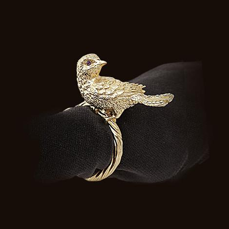 L'Objet Bird Napkin Rings in Gold, Set of 4