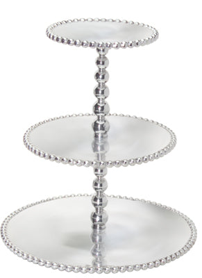 Mariposa Pearled Three Tiered Cupcake Server