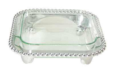 Mariposa Pearled Square Casserole Caddy with 2-Quart Pyrex