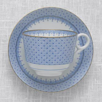 Mottahedeh Cornflower Blue Lace Cup and Saucer