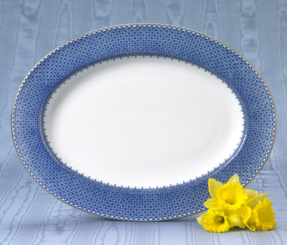 Mottahedeh Lace Blue Oval Platter