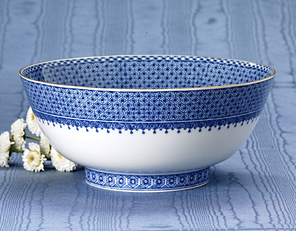 Mottahedeh Lace Blue Round Serving Bowl