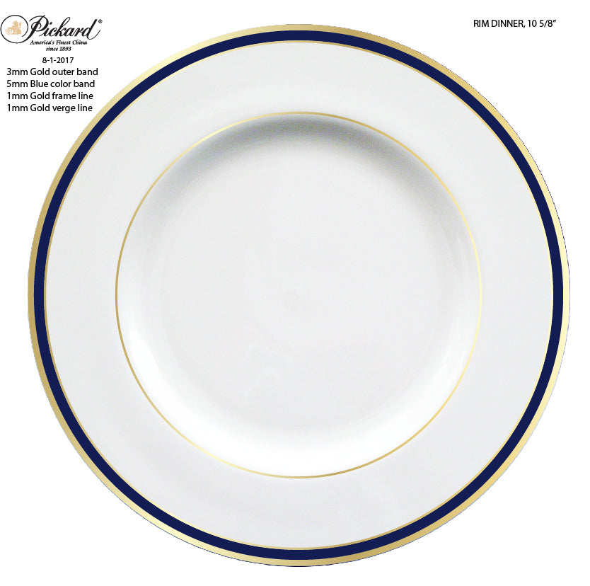 Pickard Signature Ultra White Dinner Plate with Cobalt/Gold Rim