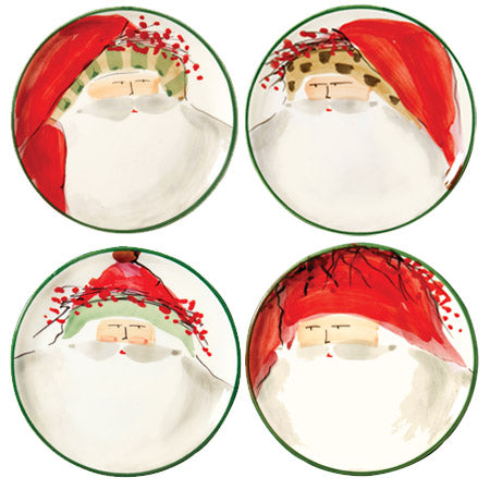 Vietri Old St. Nick Canape Plates, Set of 4