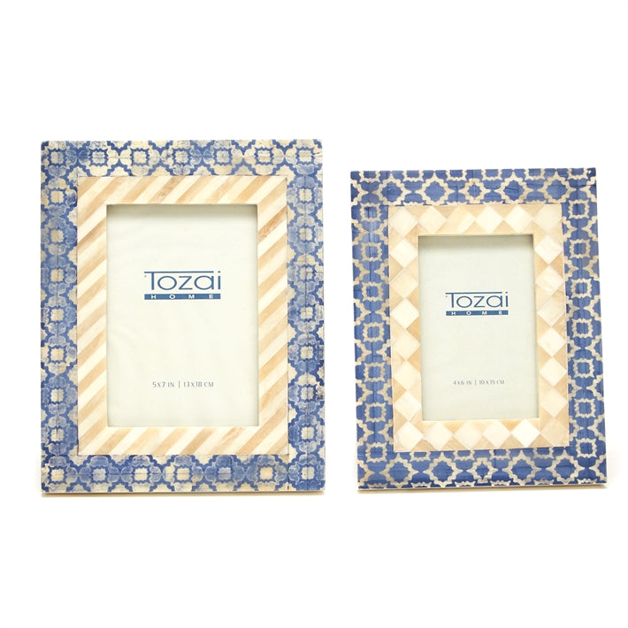 TWO'S CO. BLUE/BEIGE 4*6 FRAME