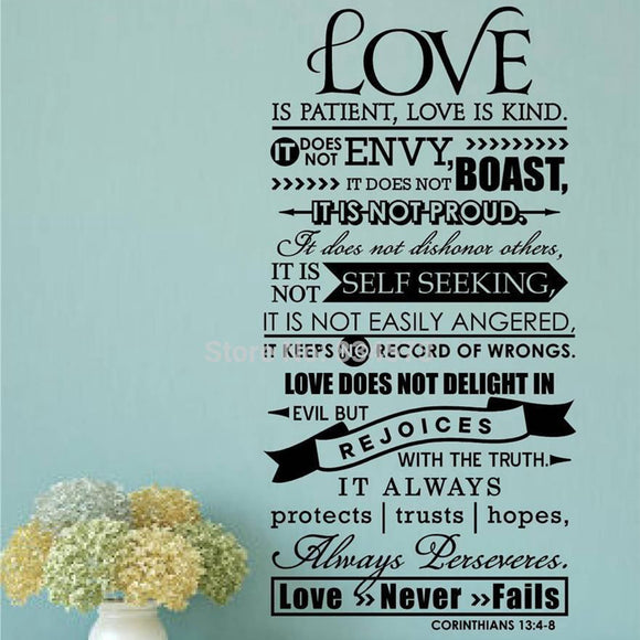 Bible Wall Stickers -  Love Is Patient Scripture Quote