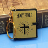English Mini HOLY BIBLE Keychain-Gold Black Colors
