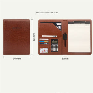 Leather Padfolio Folder Cases with 12-Bit Calculator
